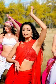 DESI ACTRESS PICTURES: Trisha Krishnan Hot Red Saree Stills | Trisha Movi...