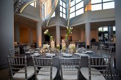 Silver, satin linens bring a sophisticated feel to the gallery space at the Museum of Contemporary Art, La Jolla