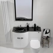 Pebble Series Combined Toilet and Basin Unit Left [WHI-BU002-BAS LH BOM] - £499.99 : Platinum Taps & Bathrooms Basin Sink Bathroom, Sink Taps, Toilet And Basin Unit, Towel Radiator, Bathroom Furniture, Bathroom Accessories, Double Vanity, Bathrooms, The Unit