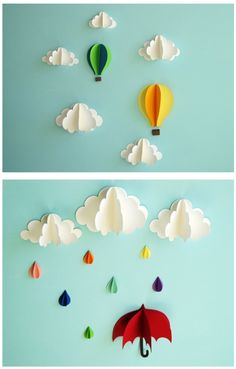 Clouds, balloons, umbrella