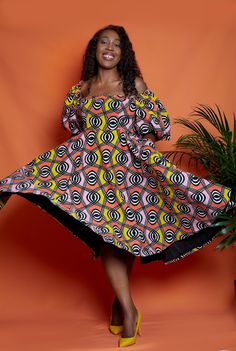 African Print Dresses, African Print Fashion, African Fashion Dresses, African Prints, African Clothing Stores, African Inspired Clothing, Christine Fashion, Mid Length Dresses, Flare Dress