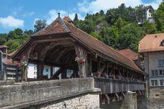 Fribourg, Switzerland - Great German restaurant over the bridge on walking tour