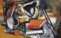 Renato Guttuso - Scrivania e libri - Olio su tela - cm. 57x90