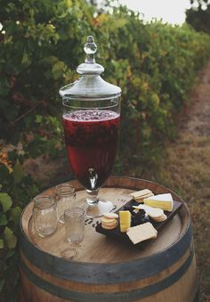 sangria, mason jars, cheeses among the grape vines. A few of these set up with sangria white/ red might be cute for Happy Hour