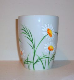 Single Hand Painted Porcelain Cup Hummingbirds and Daisies Coffee Cup, Coffee Mug, Painted Cup, Single Porcelain Cup For Mothers Day Hand Painted Mugs, Painted Cups, Hand Painted Ceramics, Painted Porcelain, Porcelain Vase, Cold Porcelain, White Porcelain, Pottery Painting Ideas Easy, Pottery Painting Designs
