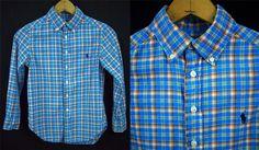 Boys RALPH LAUREN Polo Blue Orange Plaid Shirt 100% Cotton Preppy S 8 EUC #Ralph Lauren
