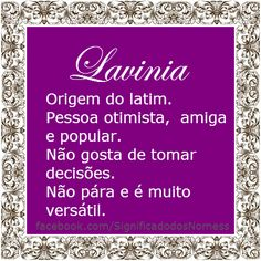 lavinia Lavinia Significado, Baby Names, Instagram, Cute Names, Meanings Of Names, Making Decisions, Notebooks, Words, Bedroom