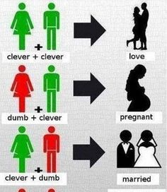 Clever + Clever= Love Dumb+Clever=Pregnant Clever+Dumb=Married Dumb+Dumb=Maury