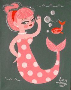 EL GATO GOMEZ PAINTING RETRO 1950S PINUP GIRL MERMAID TIKI KITSCHY BEACH FISH in Paintings | eBay