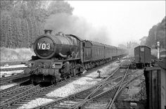 6002 King William IV approaches Lapworth at over 80 mph with the twelve o'clock from Snow Hill in September 1961