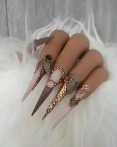Long Stiletto Nails, Pointed Nails, Long Nail Designs, Nail Art Designs, Gel Nails Shape, Punk Nails, Vacation Nails, Exotic Nails, Nail Art Videos