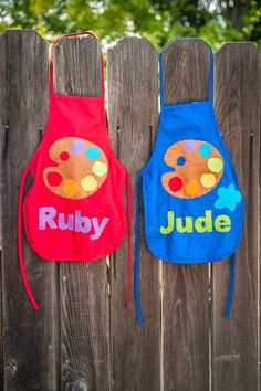 Pop art theme birthday party - personalized art palette aprons