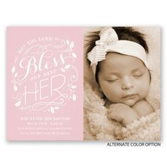 May the lord bless her and keep her.  Sweet and feminine baptism invitation from Invitations by Dawn.  #dedication #christening #baptism