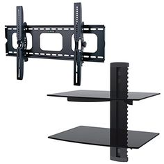 2xhome - NEW TV Wall Mount Bracket & Two (2) Double Shelf Package - Secure LED LCD Plasma Smart 3D WiFi Flat Panel Screen Monitor Monitor Display Large Displays - Flat Thin Ultra Slim Sleek Against the Wall Adjusting Adjustable - Dual 2 Tier Under TV Tempered Glass Floating Hanging Shelves Shelving Unit Rack Tower Set Bundle - Up to 15 degree degrees Tilt Tilting Tiltable Heavy Duty Strong Durable Support - Mounted Mounting Home Entertainment Media Center Multimedia Furni
