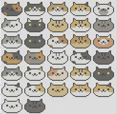 Japanese Embroidery Tiger Complete Neko Cat Collection Neko Atsume Cross by TheSoftScientist - Kawaii Cross Stitch, Tiny Cross Stitch, Easy Cross Stitch Patterns, Simple Cross Stitch, Modern Cross Stitch, Cross Stitch Designs, Bead Patterns, Learn Embroidery, Cross Stitch Embroidery
