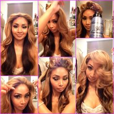 Here's a short clip how.. 1⃣ Starting from top left following down. things you'll need a weightless hair spray my favorite is bumble and bumble, 1 inch curler, hair brush, and clips to hold your hair. 2⃣ part you hair in the desired area. 3⃣ start by curling where you parted you hair inwards at the root then loosen the curls slowly don't