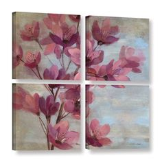 ArtWall Silvia Vassileva's April Blooms II 4 Piece Gallery Wrapped Square Set