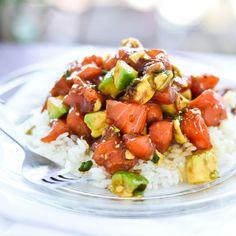 Zalm met avocado en rijst ♥ Foodness - good food, top products, great health