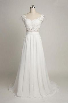Cap Sleeves Sweetheart Long Chiffon Wedding Dress with Lace,Cheap Evening Dress On sale,