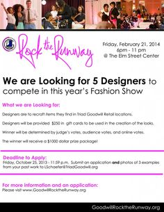 Goodwill Rock the Runway -  We are looking for #Designers ! #Apply #FashionShow #Fashion #NC #Prize