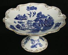 "Coalport China ""WILLOW"" Blue and White Tazza Compote Serving Dish Gold Trim #Coalport"