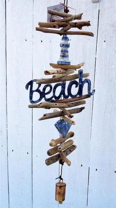 NAUTICAL BEACH SIGN & LIGHTHOUSE LARGE NATURAL DRIFT WOOD WIND CHIME DECORATION #Unbranded