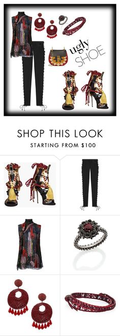 """""""Ugly Shoes Contest"""" by mcronald-denise ❤ liked on Polyvore featuring Dsquared2, Puma, Carla Amorim, Kenneth Jay Lane, Chan Luu and Chloé"""
