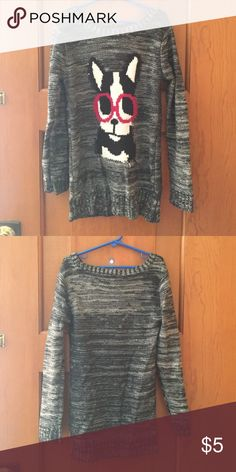 French bulldog sweater Very cute sweater with French bulldog detail in good condition! Charlie Girl Shirts & Tops Sweaters