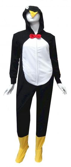 Penguin Hooded Onesie Footie Pajama  Time for some fun!! These black footed pajamas for women are designed to look just like a penguin, complete with eyes and a beak on the hood, a white belly, yellow feet and a red bow tie. These soft micro polar fleece one piece footie pajamas have ribbed cuffs at the wrist and have gripper bottoms. Machine washable and easy care. Junior cut. $35