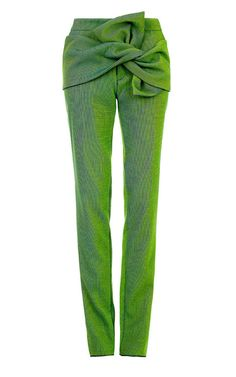 Spring Green Mercury Knot Trousers by Maticevski for Preorder on Moda Operandi