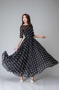 polka dot dress, illusion prom dress, Black white dress, Chiffon dress, Women dresses, maxi dress, Half sleeve dress, boat neck dress (1534)