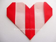 Easy Origami Striped Heart