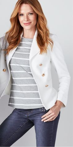 A white blazer is a fabulous weekend wardrobe addition! Ivory, Military, Blazer, Knitting, How To Wear, Jackets, Style, Fashion, Pique