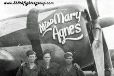 "P-47 "" MISS MARY AGNES "", Crew Chief's Sgt Joseph Hanson, Sgt Allen Olson, & Sgt Charles Matthews P 47 Thunderbolt, Miss Mary, Ww2 Aircraft, Nose Art, Aviation Art, Air Show, Military History, Bird Art, Wwii"
