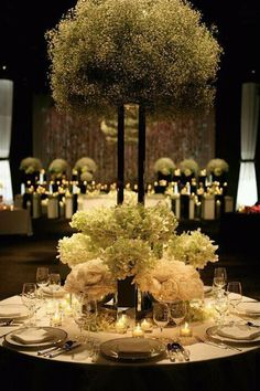 Dramatic baby's breath reception wedding flowers, wedding decor, wedding flower centerpiece, wedding flower arrangement, add pic source on comment and we will update it. www.myfloweraffair.com can create this beautiful wedding flower look.