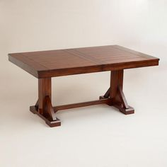 One of my favorite discoveries at WorldMarket.com: Mahogany Verona Trestle Table -- this is too long for our banquette, but I like the style