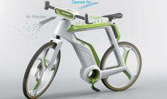 Bicicleta do futuro tem até filtro de ar. Novidade é capaz de emitir oxigênio para a atmosfera por fotossíntese http://oesta.do/1hArNRO