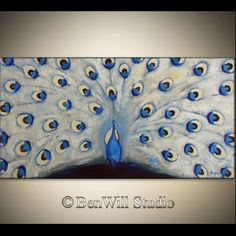 Abstract PEACOCK Painting ORIGINAL White Brown Blue by benwill, $340.00