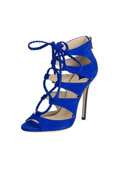 Roman Heeled Sandals in Royal Blue [XHM0087] - PersunMall.com