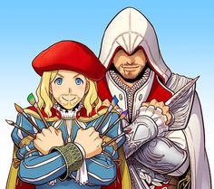 aaawww so cute Leonardo & Ezio best friends forever I love the way they drew Leo. He's so CUTE