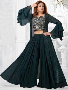 Dark Green Art Silk Suit with Zari Work Gown Party Wear, Party Wear Indian Dresses, Designer Party Wear Dresses, Indian Gowns Dresses, Dress Indian Style, Indian Fashion Dresses, Indian Designer Outfits, Girls Fashion Clothes, Designer Wear