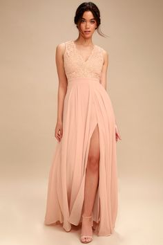 Do Re Mi Blush Pink Lace Backless Maxi Dress 2 Beach Bridesmaid Dresses b443c1323eba