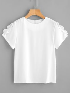 SheIn offers Frill Trim Chiffon Top & more to fit your fashionable needs. Girls Fashion Clothes, Summer Fashion Outfits, Cool Outfits, Diy Summer Clothes, Paris Outfits, Shirt Refashion, Blouse Styles, Chiffon Tops, Blouses For Women