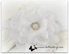 White Soft Eyelet Flower Headband by tutticutesytutus on Etsy