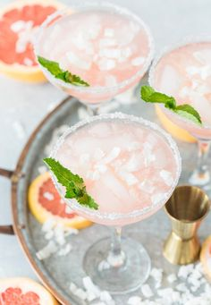 Get your fiesta on with these delicious and easy Coconut Grapefruit Margaritas! They're perfectly refreshing and super simple to make! Summer Cocktails, Cocktail Drinks, Cocktail Recipes, Drink Recipes, Margarita Cocktail, Healthy Recipes, Alcohol Recipes, Holiday Cocktails, Party Recipes