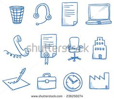 Icon set business office & communication with clock, phone, contract, computer, chair, pen, hand drawn vector doodle
