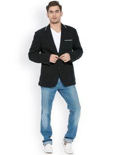 Buy Mufti Black Single Breasted Blazer - Blazers for Men | Myntra