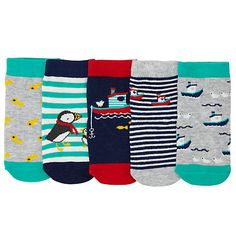 Buy John Lewis Baby Nautical Socks, Pack of 5, Green/Multi Online at johnlewis.com