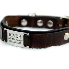 Personalized Leather  Dog Collar  -- Medium -- with a Stainless Steel  Pet ID Tag