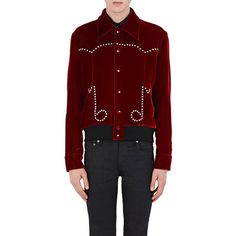 Saint Laurent Men's Musical-Note Jacket ($2,890) ❤ liked on Polyvore featuring men's fashion, men's clothing, men's outerwear, men's jackets, red, mens red jacket, mens red velvet jacket, mens velvet jacket and mens jackets